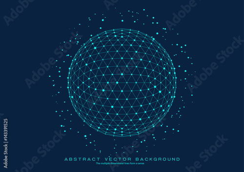 3D polygon mesh sphere, Science and technology background point line connection - 143391525