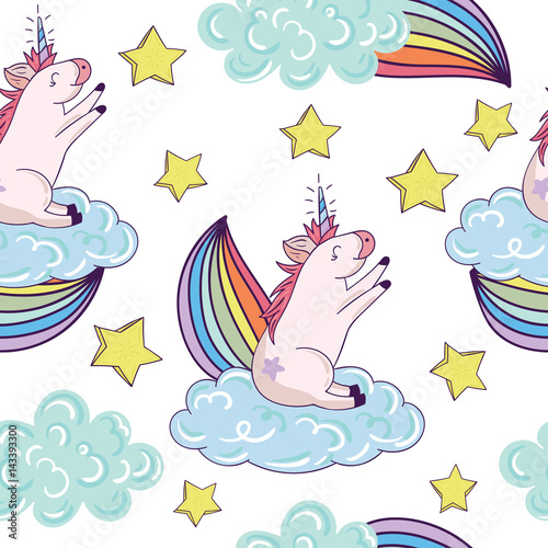 Seamless pattern with cartoon patch badges with cloud,unicorns,rainbows,star.For t-shirt or other uses.Retro style 80s-90s.Pop art style.