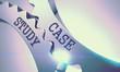 Case Study on Mechanism of Shiny Metal Cogwheels. Enterprises Concept in Technical Design. Metallic Cogwheels with Case Study Inscription. 3D Render .