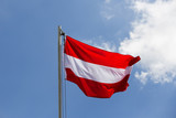 National flag of Austria on a flagpole - 143396549