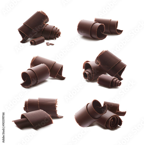 Chocolate curls shavings isolated on white background