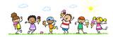 Fototapety Cartoon Kinder essen Eis im Sommer