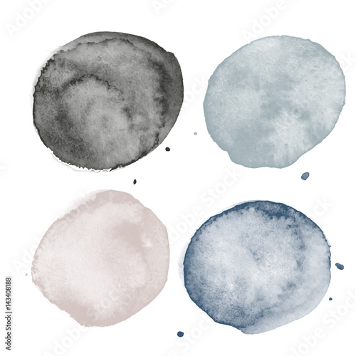Set of watercolor shapes. Watercolors blobs. Set of colorful watercolor hand painted circle isolated on white. Illustration for artistic design. Round stains, blobs of different color - 143408188