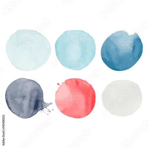 Set of watercolor shapes. Watercolors blobs. Set of colorful watercolor hand painted circle isolated on white. Illustration for artistic design. Round stains, blobs of different color - 143408323