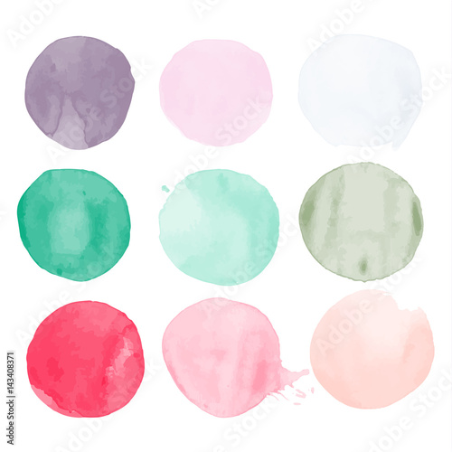 Set of watercolor shapes. Watercolors blobs. Set of colorful watercolor hand painted circle isolated on white. Illustration for artistic design. Round stains, blobs of different color - 143408371