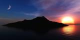 Beautiful sea sunset, ocean sunrise, light above water, 3d rendering