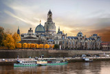 Beautiful romantic Dresden over sunset. Landmarks and river cruises in Germany
