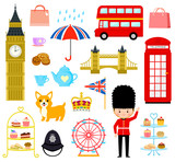 set of cute cartoons related to London