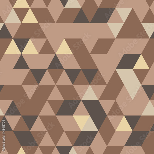 Cotton fabric Khaki seamless pattern with triangular protection ornament