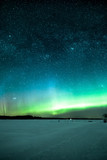 Night sky with aurora borealis