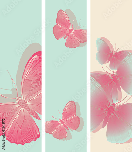 set of bookmarks with graphic pink butterflies patterns