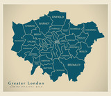 Modern Map - Greater London labelled districts administrative area UK