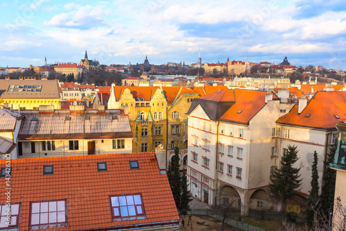 Poster Prague downtown aerial panorama with famous landmarks, Czech Republic
