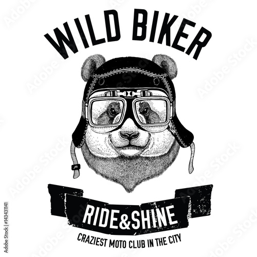 Vintage images of panda bear for t-shirt design for motorcycle, bike, motorbike, scooter club, aero club