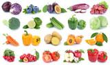 Obst und Gemüse Früchte Apfel Orange Tomaten Salat Farben frische Collage Freisteller freigestellt isoliert