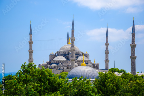 Blue mosque or Sultanahmet Mosque in Istanbul, Turkey from above with blue sky i Poster