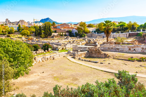 Ruins and old walls in ancient Kerameikos district in Athens, Greece