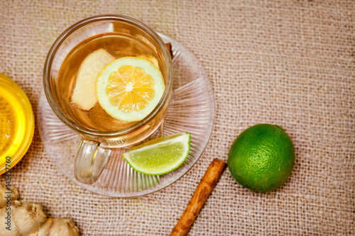 Ginger tea with lemon and lime Poster