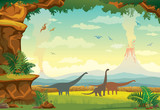 Prehistoric landscape with dinosaurs, volcano and fern.