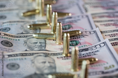 50 dollar bills with scattered bullets detail Poster