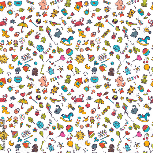 obraz lub plakat Sketch set of drawings in child style. Doodle children background. Seamless pattern for cute little girls and boys