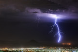 Cloud to ground lightning strike in Las Vegas, NV