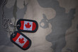 army blank, dog tag with flag of canada on the khaki texture background. military concept