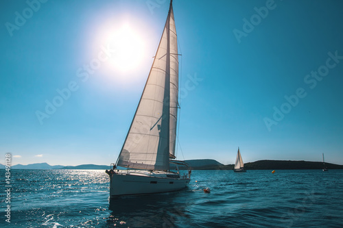 Luxury yachts at sea sailing regatta.