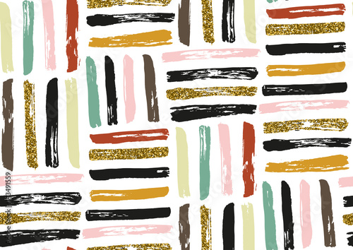 Vector seamless pattern with hand drawn gold glitter textured brush strokes - 143491559