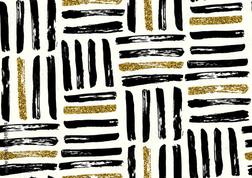 Vector seamless pattern with hand drawn grunge textured brush strokes. - 143491564