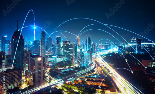 Modern cityscape and network connection concept .