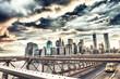 Beautiful view of Manhattan from Brooklyn Bridge