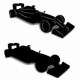 silhouette of a formula F1 racer, vector draw