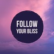 "Inspirational motivational quote ""follow your bliss"" on pastel sky background."