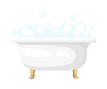 Bathtub  Soapsuds In A Tiled Bathroom Bathtub Icon For Interiors Flat Design Style  Illustration Sticker