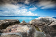 Beautiful stony sea shore. Landscape, nature, tropical beach