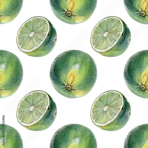 bezszwowy-wzor-z-zielonymi-wapno-rysujacymi-reka-z-barwionym-olowkiem-zdrowe-weganskie-jedzenie-swieze-smaczne-owoce-malowane-od-natury