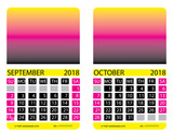 Calendar grid.September. October