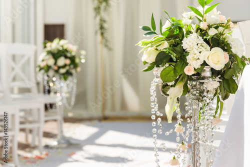 White wedding ceremony decorations indoor. Wedding when bad weather ...