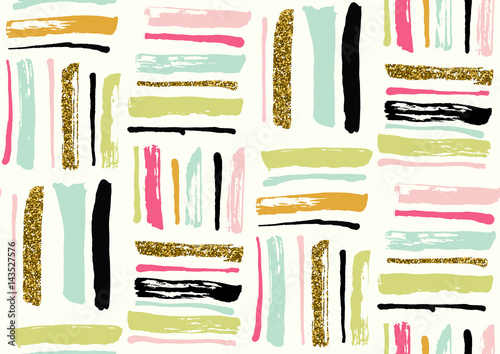Vector seamless pattern with hand drawn gold glitter textured brush strokes - 143527576