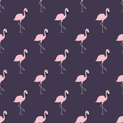 Seamless pattern with pink flamingos. Vector illustration. Beautiful tropical background to print on fabric, textiles, design, clothing, Wallpaper. Ornament with exotic birds.