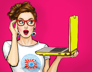 Girl with laptop in the hand in comic style. Woman with notebook.Girl in glasses. Hipster girl. Digital advertisement.