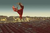 Fototapety Tänzerin vor beleuchteter Stadt