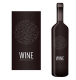 Vector wine label with chalk floral ornament of grape bunches and grape leaves - 143549332