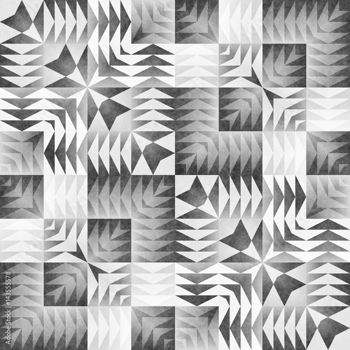 Monochrome Tribal Seamless Pattern. Aztec Style Abstract Geometric Art Print. - 143555578