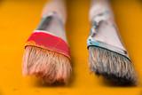 Paint brushes on the yellow background horizontal