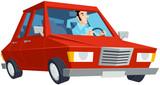Cartoon Car and Driver