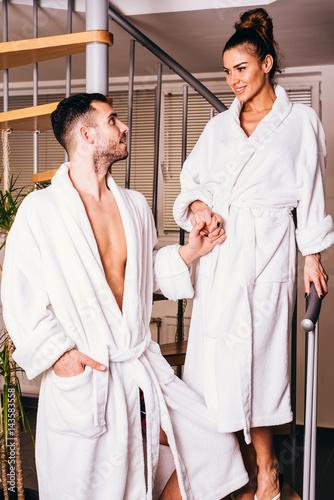 Couple enjoying wellness weekend and spa Poster