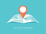 Orange location marker on city map vector illustration in flat style - 143585925