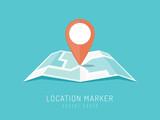 Orange location marker on city map vector illustration in flat style - 143585925